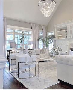 Stunning, All, White, Glam, Living, Room, Decor, With, White