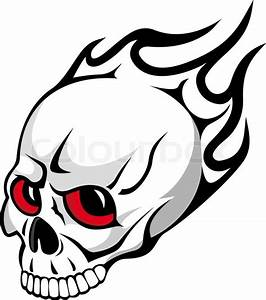 Danger evil skull with flames as a tattoo isolated on ...