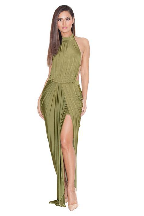 draped maxi dress clothing max dresses vittoria olive draped silky