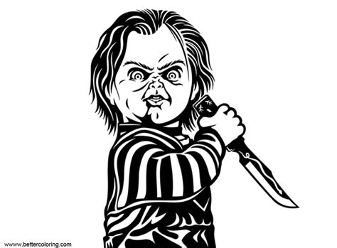 chucky coloring pages black  white  printable
