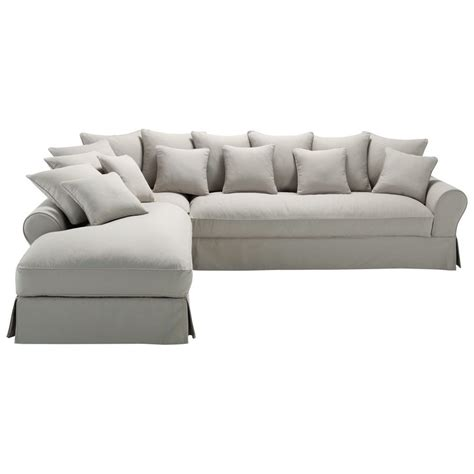 canapé angle 6 places canapé d 39 angle gauche 6 places en coton gris clair bastide