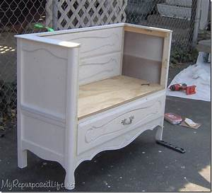 Old dresser into bench - My Repurposed Life®