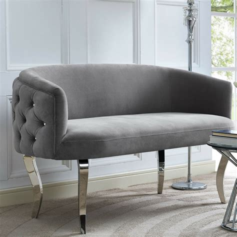 Curved Settee Bench by Horchow Haute House Style Glam Regency Curved Gray Velvet