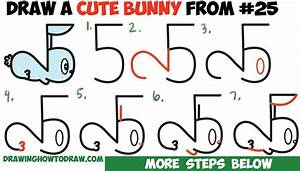 How to Draw a Cute Cartoon Bunny Rabbit from Numbers 25 ...