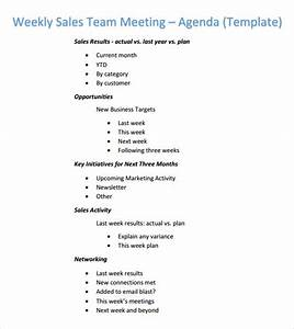 weekly agenda template 6 free download for pdf word With sales team meeting agenda template