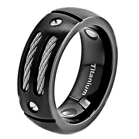 8mm Satin Titanium Ring Black Men's Wedding Band  Ebay
