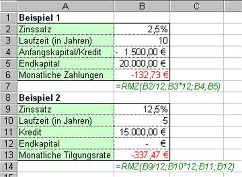 kredit monatliche rate berechnen monatliche rate berechnen formel excel werden
