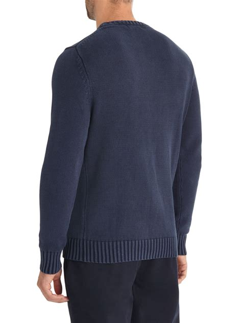 austin reed acid wash cable knit jumper  blue  men