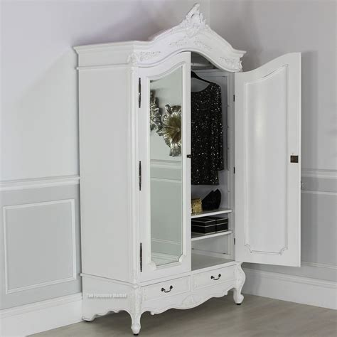 White Mirrored Wardrobe by Chateau White Painted 2 Door Mirrored Armoire 10