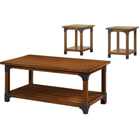 Rustic coffee and end tables usually go in an ensemble with coffee tables to create a harmonic look in the living room. Millard Country Style 3-Piece Coffee and End Table Set in Antique Oak | 3 piece coffee table set ...