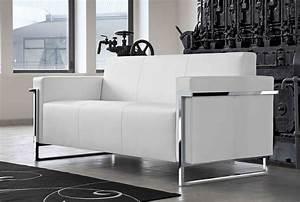 Canapé Cuir Blanc 2 Places : memoria canap 3 places en cuir blanc ~ Teatrodelosmanantiales.com Idées de Décoration
