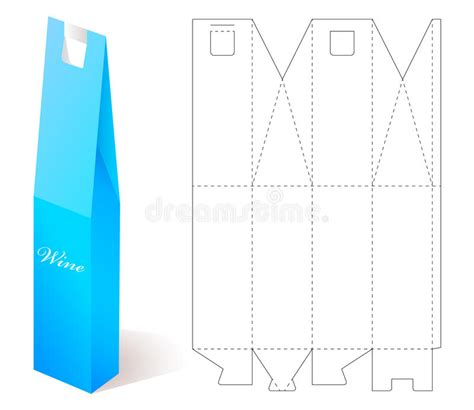 bottle packaging box template wine paper box with blueprint template stock vector