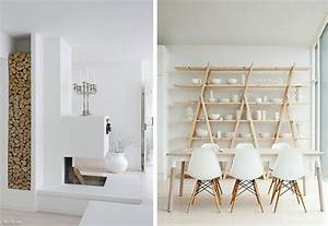 4 interieur blanc et bois brut idee decoration design for Idee deco cuisine avec table en bois brut