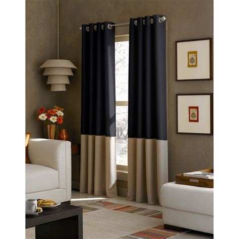 navy and bone color block curtain panel