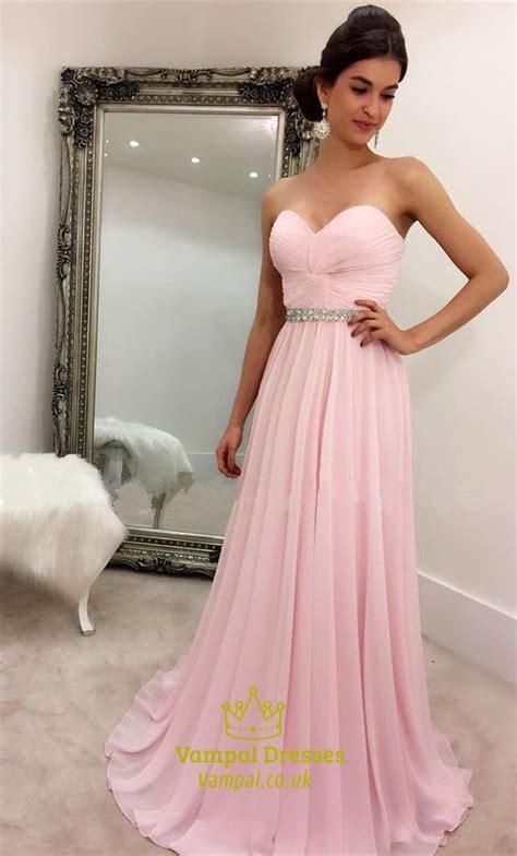 pink strapless criss cross bodice beaded empire bridesmaid