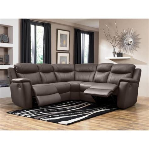 canap d angle relax pas cher canapé d 39 angle relax cuir evasion chocolat achat vente