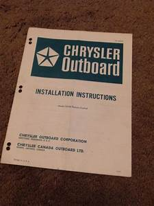 Chrysler Outboard 72h36 Remote Control Installation Instructions Manual 73h08a