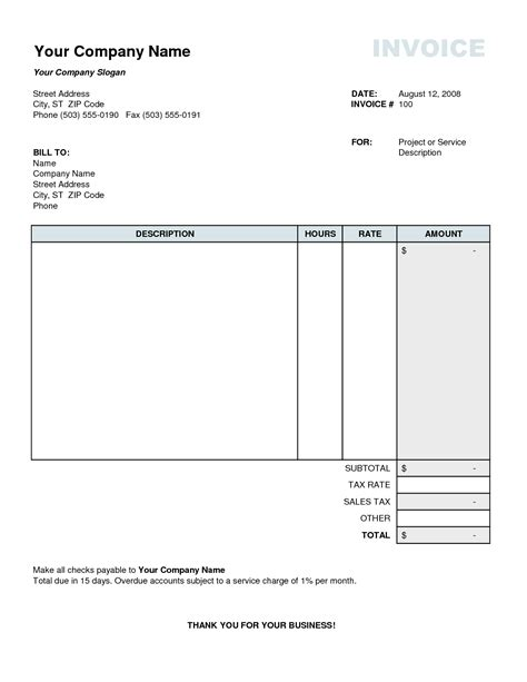 tax invoice template excel invoice