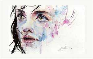 little girl child art portrait watercolor painting face ...