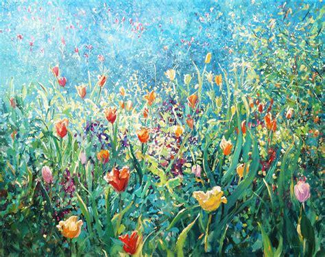 paintings  light shadow trees gardens flowers mariusz kaldowski landscapes  gardens