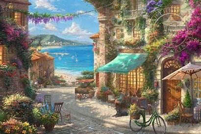 Romantic Italian Cafe Kinkade Thomas Italy Moments