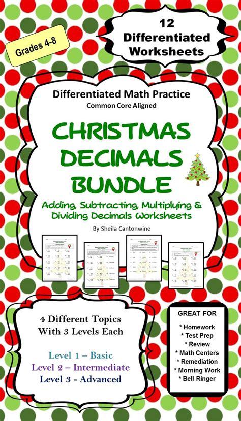 christmas decimal worksheet bundle differentiated math christmas math worksheets decimals
