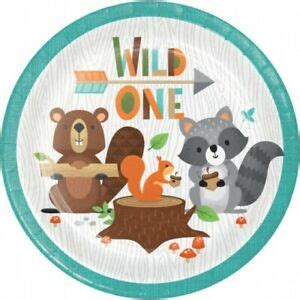 Wild One 1st Birthday Woodland Animals 7 Inch Plates 8