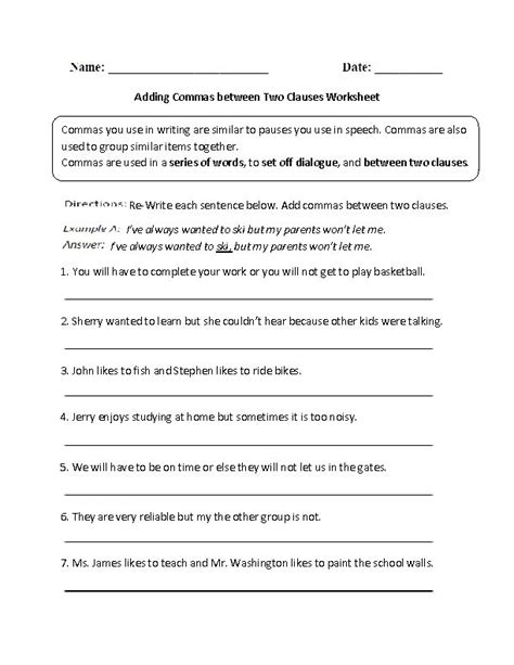 adding commas between two clauses worksheet englishlinx com board pinterest worksheets