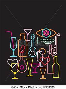 Vector Illustration of Neon light silhouettes on black