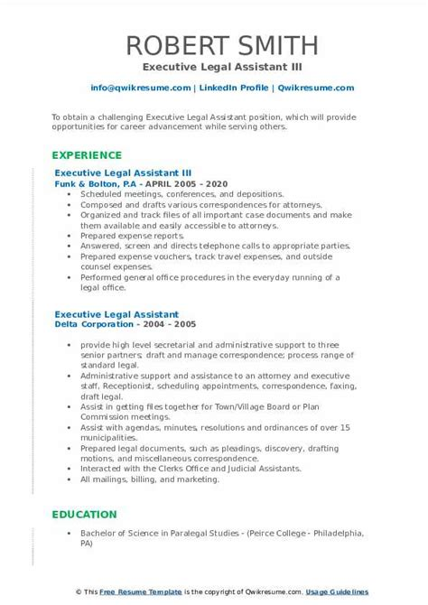 executive legal assistant resume samples qwikresume