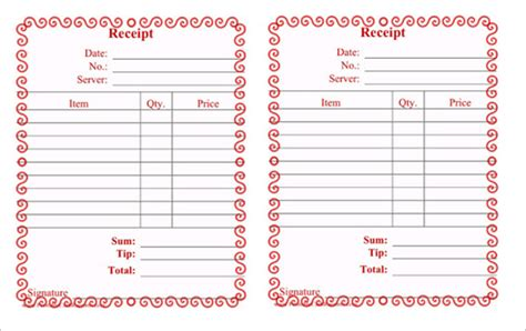 restaurant receipt template 19 restaurant receipt templates pdf word excel sle templates