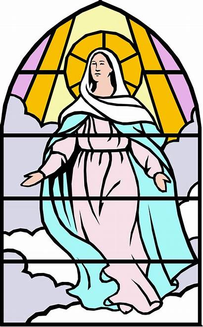 Mary Clip Clipart Catholic Mother Cliparts Glass