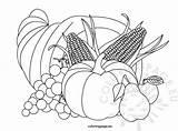 Cornucopia Coloring Thanksgiving Pages Template Templates Sketch Coloringpage Eu sketch template