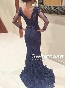 Sweetheart Girl   Custom Made Deep Blue Lace Backless Prom ...