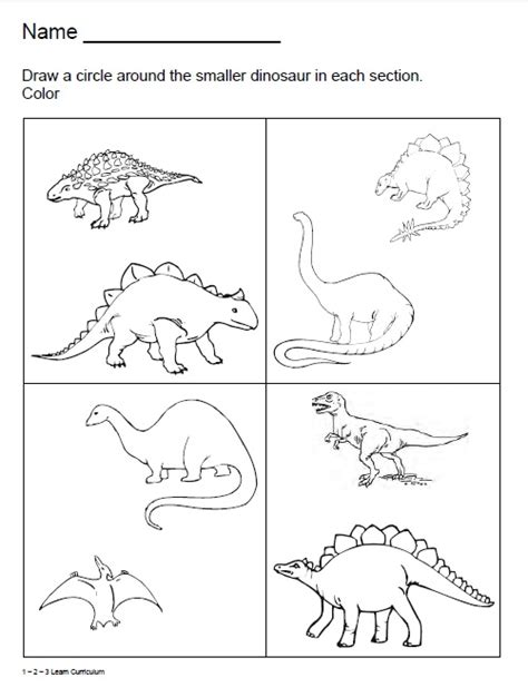 1 2 3 learn curriculum dinosaur worksheets