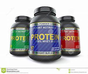 Bodybuilding Protein Supplements Isolated On White Stock Illustration