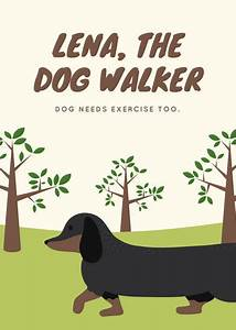 Free Daycare Logos Cream And Green Trees Dog Walker Flyer Templates By Canva