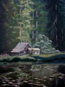 Cabin On Lake Painting