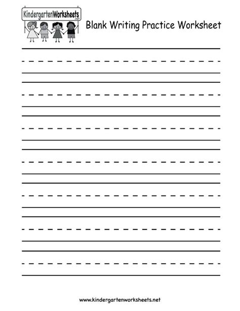 worksheets in writing for kindergarten kindergarten blank writing practice worksheet printable