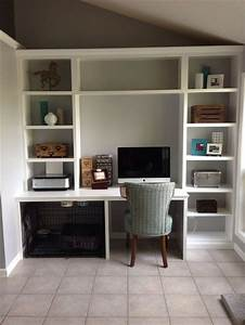 built in desk unit with space for the dog crate great With desk dog crate