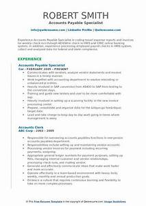 Model Resume Format For Experience Accounts Payable Specialist Resume Samples Qwikresume