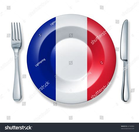 cuisine francais food fork plate knife isolated stock illustration