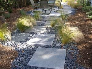 Concrete Stepping Stone Mexican Beach Pebble Feather Grass Great Garden Idea Awesome Landscape Stepping Stones