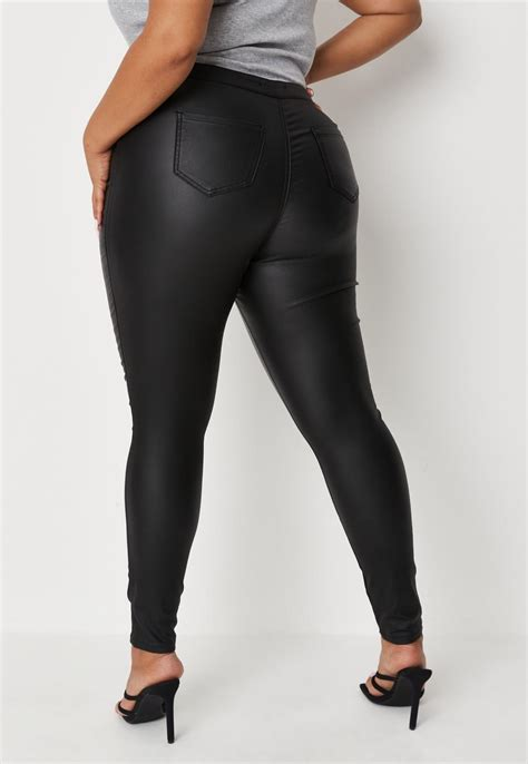 Plus Size Black Vice Coated Skinny Jeans | Missguided