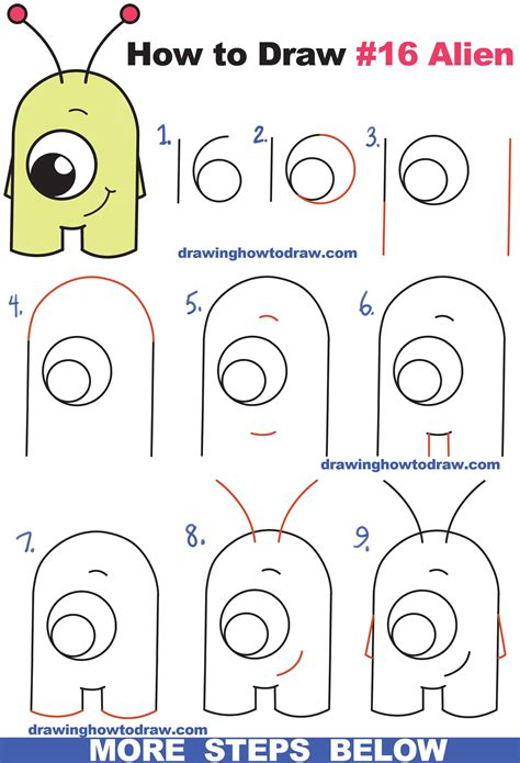 draw cute cartoon alien  numbers  easy step