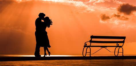 wallpaper kiss couple sunset silhouette  love