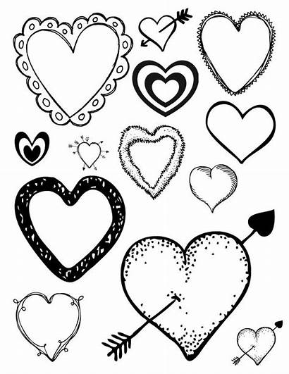 Hearts Coloring Valentine Printable Heart Loving Valentines