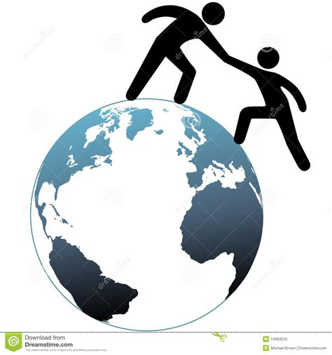 Helper Reach Out Helps Friend Up Top Of World Stock Vector