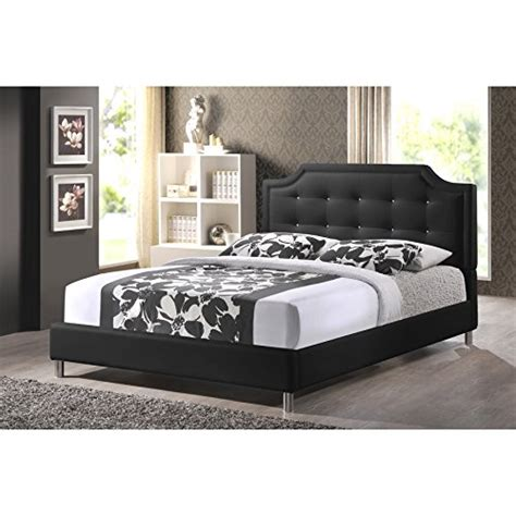 Black Leather Headboard With Crystals by Baxton Studio Carlotta Modern Bed With Upholstered