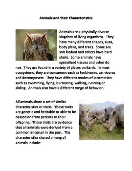 Animals and their Characteristics by The Common Core and